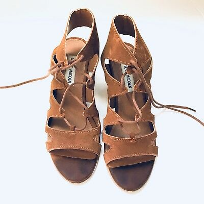 7fe28b8cc434 Steve Madden Womens Suede Lace up Low heel open toe sandals US 8 M