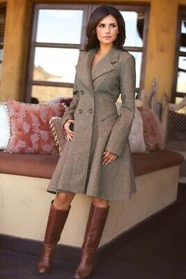 Victorian Trading Co Corset Tie Back Houndstooth Swing Coat L