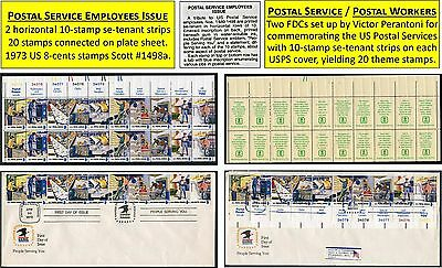 POSTAL SERVICES ISSUE 4 se-tenant strips of ten 40 STAMPS 1973 US 8c Scott 1498a