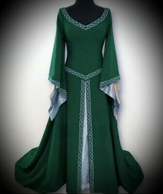 New Green Gothic Medieval Royalty Cosplay Long Gown Dress size 4XL 18 20 22 24