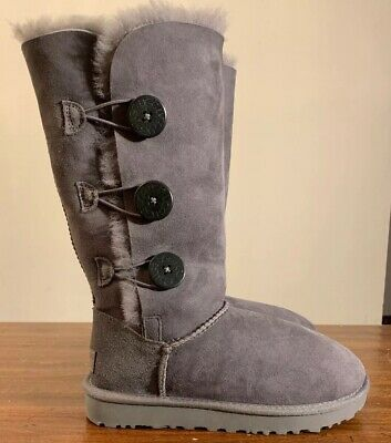 d548389c342 UGG BAILEY BUTTON Triplet II Grey Women's Boots 1016227 - $157.50 ...