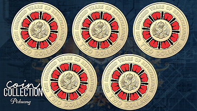 2019 $2 100 years of repatriation  RED COLOURED COIN in mint bag - 5 coins