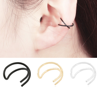 Womens Twist Ear Cuff Earrings Wrap Fashion Clip On Punk Rock Cuffs Fake Silver