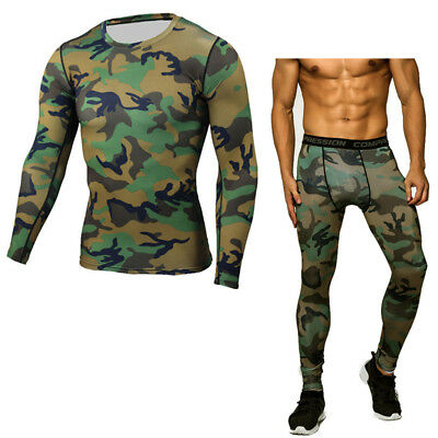 2Pcs Mens Running Sets Compression Sports Suits Skinny Tights Tops & Pants Gym