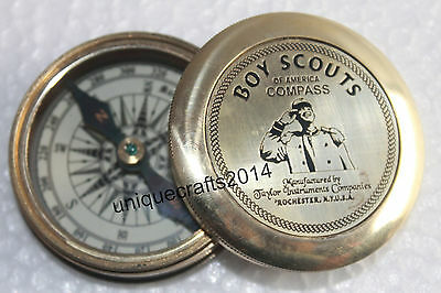 Marine Vintage Brass Nautical Poem Pocket Compass Boy Scouts Hand Crafted Item.