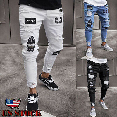 02330d270172 Men Black Skinny Jeans Pants Destroyed Stretchy Biker Ripped Long Denim  Trousers