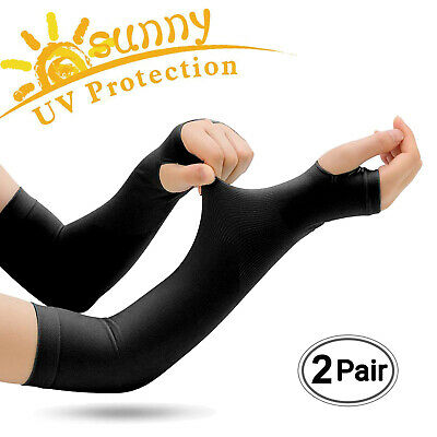 2 Pairs Cooling Arm Sleeves Cover UV Sun Protection Basketball Golf Sport Black