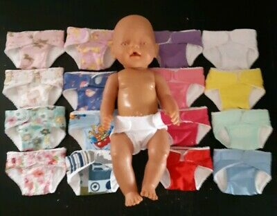 Homemade Baby Born (40cm Doll) Nappy - 16 Pattern Choices