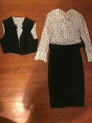 VTG 40s 50s Womens Small black white Secretary Rockabilly Belted Dress Vest Set