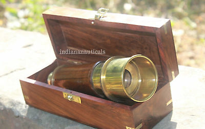 "Solid Brass Nautical Spyglass Telescope Astrolabe Collectible 18"" W/ Wooden Box."