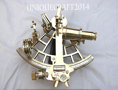 "Nautical Brass Sextant 9"" Working Vintage Marine Astrolabe Ship Instrument Item."