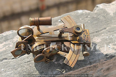 "4"" Antique Solid Brass Sextant Vintage Reproductive Nautical Collectible."