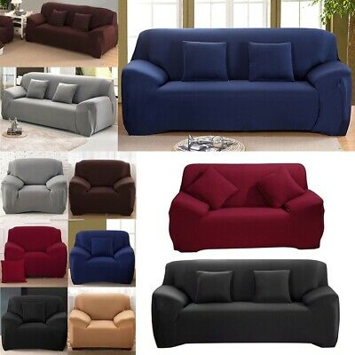 Spandex Stretch Sofa Cover Elastic Fabrics seat protector for 1/2/3/4 Seater UK