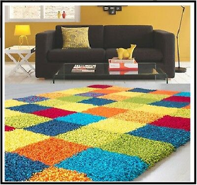 Funky Bright Multi Colored Modern Thick Soft Fluffy Heavy Quality Shaggy Rugs