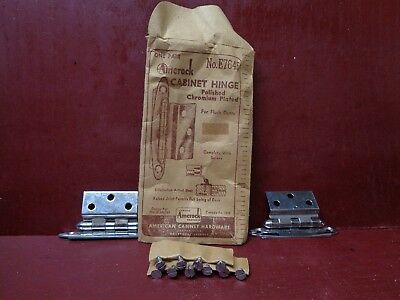 2 1950s NOS MORE AVAIL AMEROCK CHROME CABINET HINGES CORRECT ORIG SCREWS E7645