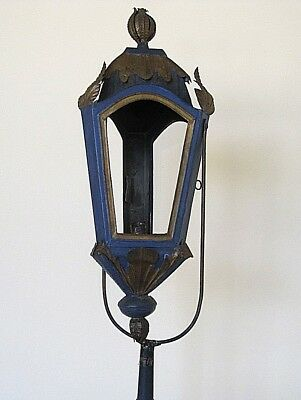 French 18th Century Rare Church Lantern Blue & Gold Painted Tole  C1780