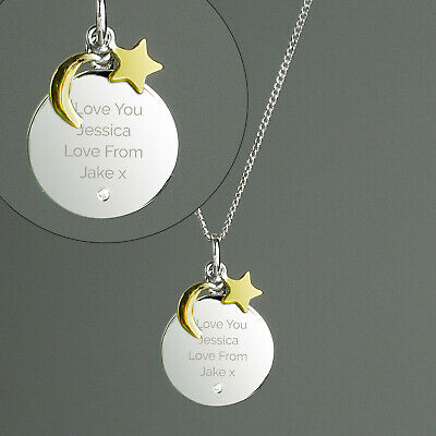Personalised Moon & Stars Sterling Silver & Gold Chain Necklace Engraved Message