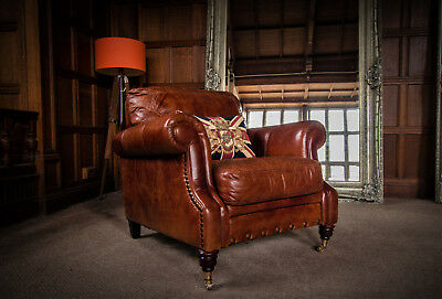 Victorian Style Chestnut Tan Brown Leather Stud Chesterfield Club Armchair