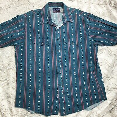 c440ea2e26 Vintage Wrangler Mens Shirt Size 17.5 Western Snap Pearl Buttons Southwest  Rodeo