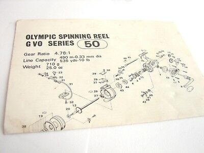 OLYMPIC GVO SERIES No  50 Spinning Fishing Reel Schematic Manual Booklet