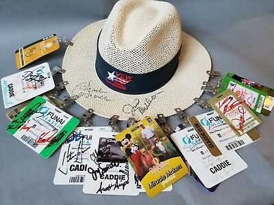 Signed Golf Hat with 38 Autographs on Caddie Badges, Vijay Singh, Retief Goosen