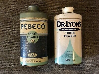 Vintage Lot Dr. Lyon's Ammoniated Tooth Powder & Pebeco Tooth Powder Tins