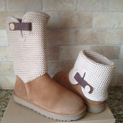 516af806f22 UGG SHAINA CHESTNUT Button Suede Knit Cuff Tall Ankle / Boots Size US 6  Womens
