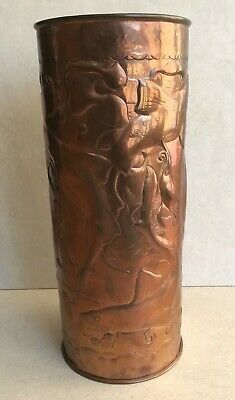 Original Antique Arts and Crafts Newlyn Copper Tall Vase stick stand Dog Fish