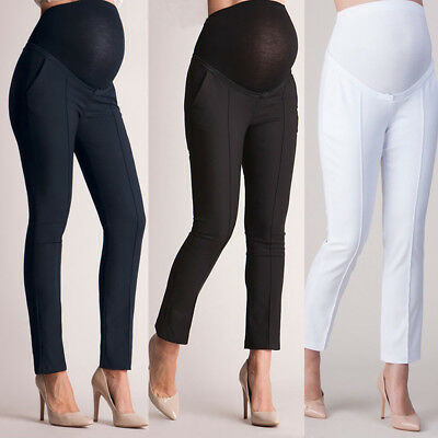 Women Elastic Belly Protection Maternity Pregnant Leggings Trousers Loose US