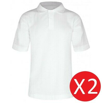 2 School Boys Quality White Short Sleeve Polo Shirts 100% Cotton Age 3-16 YRS