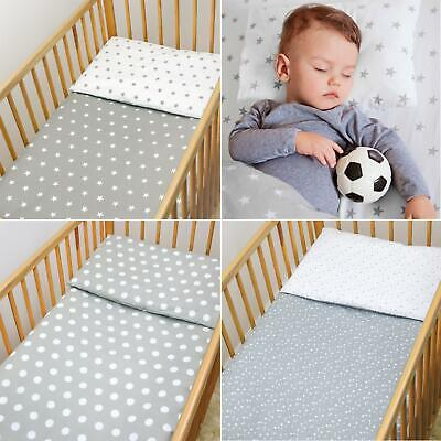 2 Piece Kids Cotton Duvet Cover & Pillowcase for Crib Cot Bed and Junior Bed