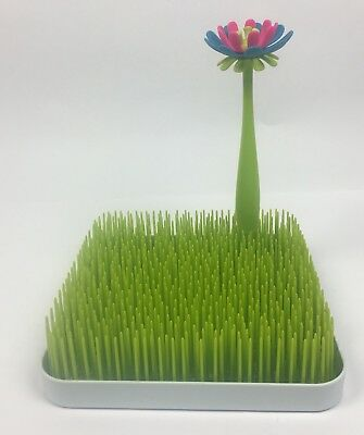 Boon Grass Countertop Drying Rack Green Silicone Bottle Cleaning Flower Brush