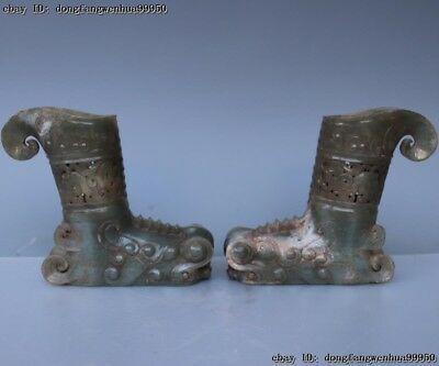 Natural HeTian Jade Old Nephrite Carving Tiger Head Boots Boot Jade Shoes Pair