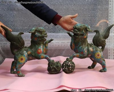 Chinese Copper Bronze Cloisonne Enamel Ball Fu Foo Dog Guardion Lion Statue Pair