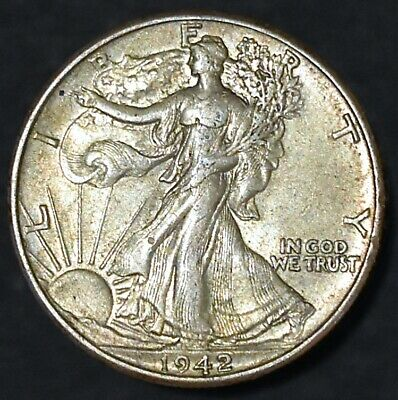 1942 Walking Liberty Half Dollar 50C •• AU+/MS Great Eye Appeal •• SEE OUR STORE