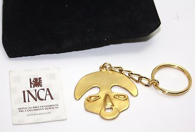 INCA  Pre-Columbian Replicas  24k. Key Chain Executed in Pewter & Gold Plated