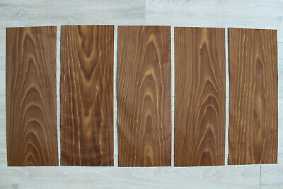 "Beech Fumé wood veneer, 5 sheets, ~ 18.1 x 6.88"" (46 x 17.5cm), 0.55mm (~1/45″)"