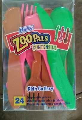 Hefty Pals Kid's Cutlery Zoo Pals Funtensils, 24 ct plastic knives forks spoons