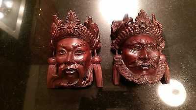 Awesome Antique Hand Carved Rosewood Asian War Headress Heads