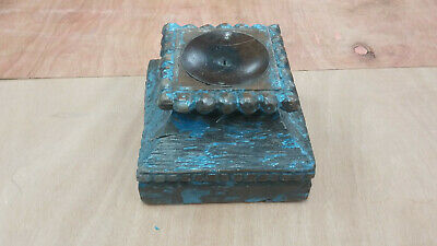 Vintage Architectural Carved Capital Antique Blue Wood Column Base Candle Stand