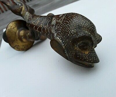 Unique Antique/Vintage Brass Bronze Fish Koi Dolphin door knocker.