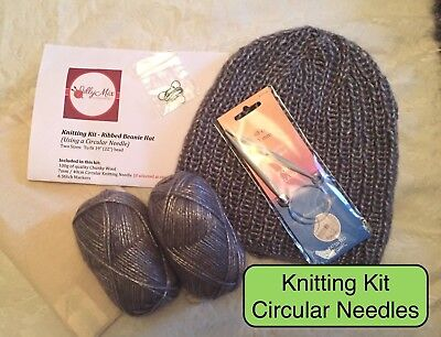 KNITTING KIT - Ribbed Hat / Beanie / Hat / Slouchy Hat - Circular Needles - GREY