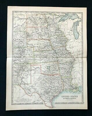 1893 Antique Victorian Atlas Map, CENTRAL UNITED STATES USA Handy Royal Atlas