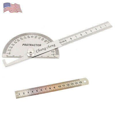 Round Head Rotary Protractor Stainless Steel Angle Finder Rule Measure Tool Kit