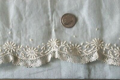 Antique French c1890 Batiste With Floral White Work Embroidery & Lace Border
