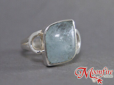 Aquamarine Fancy Modern Sterling Silver Ring Us 8.5 925 Stamped Light Sky Blue