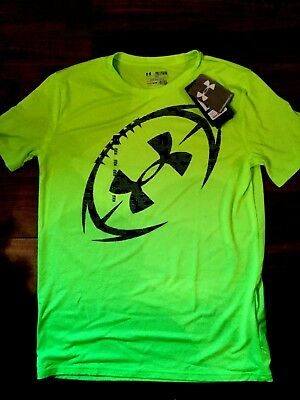d90c1557 NWT UNDER ARMOUR Short Sleeve Neon Yellow Shirt With Football Youth Xl