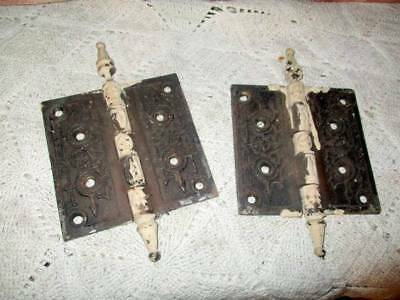 Pair Of Antique Victorian Eastlake Corbin Iron Hinges 4.5 Inch