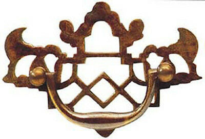 """3.5"""" Antique Style Solid Brass Fretted Plate Drawer Handle 1511A/A"""