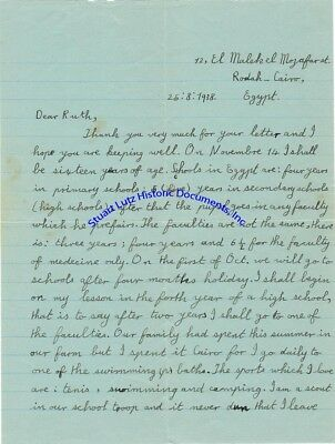Penpal letters from Egyptian male teenager to American girl in 1930s & 1940s